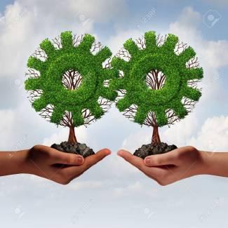 37448133-quipe-stratégie-d-entreprise-concept-comme-deux-mains-tenant-arbres-connectés-en-forme-comme-un-engre